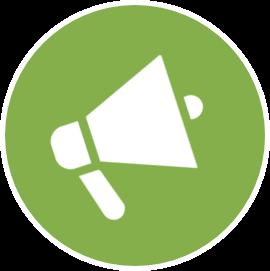 Icône haut parleur blanc sur fond vert